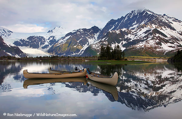 Canoes in front of the Kenai Fjords Glacier Lodge, Pedersen Lagoon, Kenai Fjords National Park, Alaska.