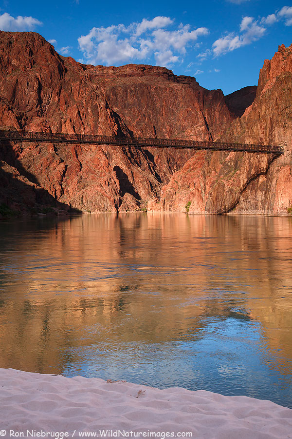 Tunnel and bridge over the Colorado River are part of the South Kaibab Trail, Grand Canyon National Park, Arizona.