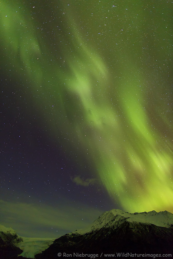 Aurora borealis over Exit Glacier, Kenai Fjords National Park, Alaska.