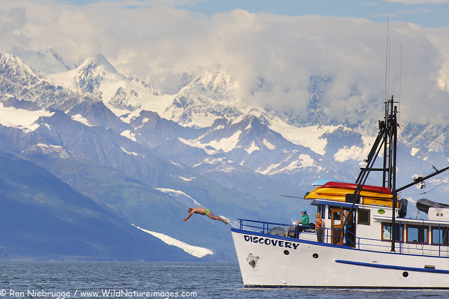 Going for a swim in Prince William Sound, Alaska.