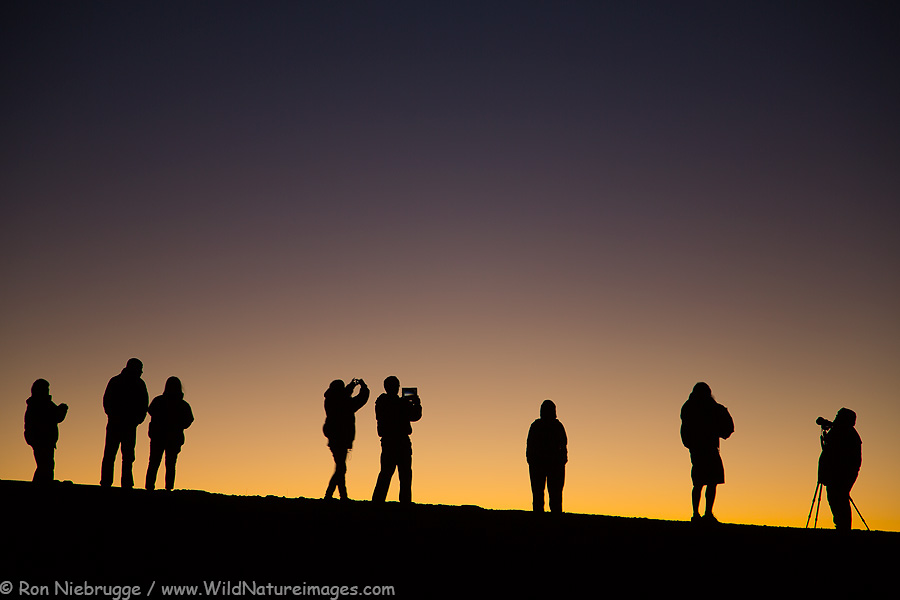 Visitors enjoying the final light on the summit of Haleakala last night.