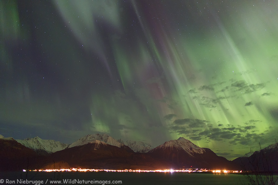 Aurora borealis over Resurrection Bay, Seward, Alaska.