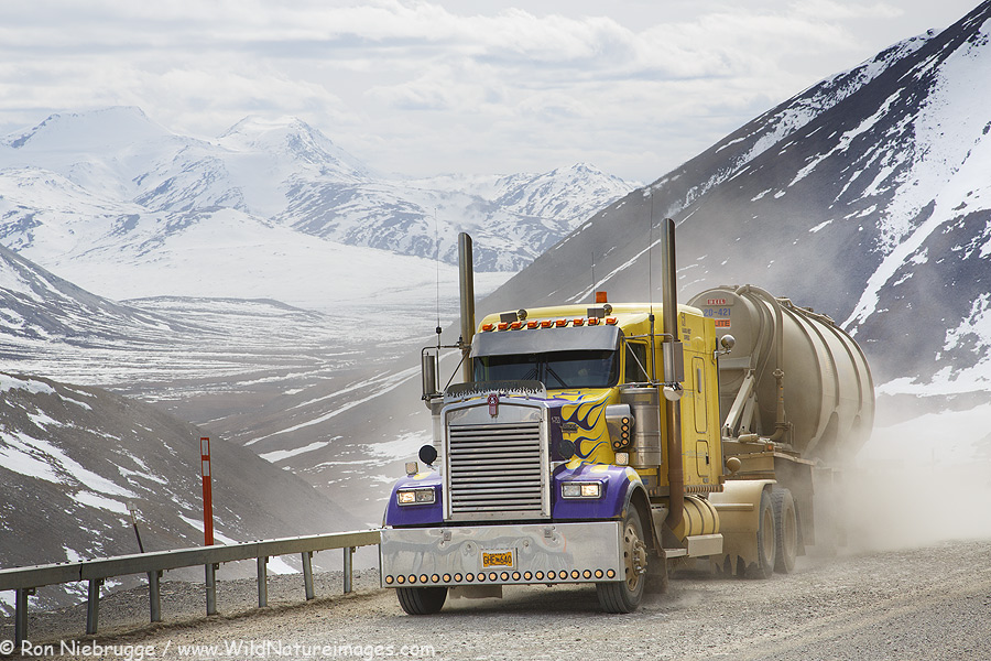 A truck climbs Atigun Pass on the Dalton Highway, Alaska.