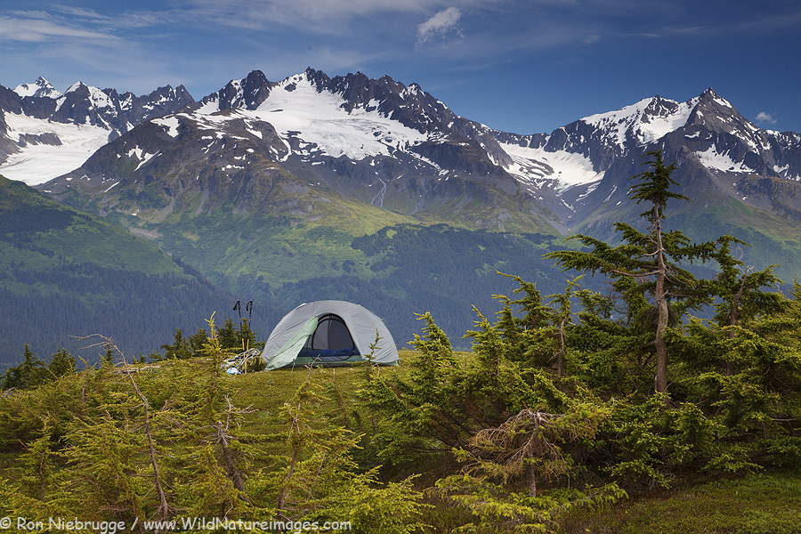 Camping near the Lost Lake Trail, Chugach National Forest, Seward, Alaska.