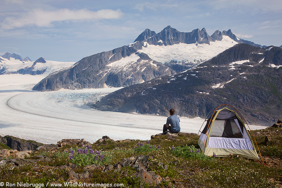 Camping above the Mendenhall Glacier, Tongass National Forest, Juneau, Alaska.