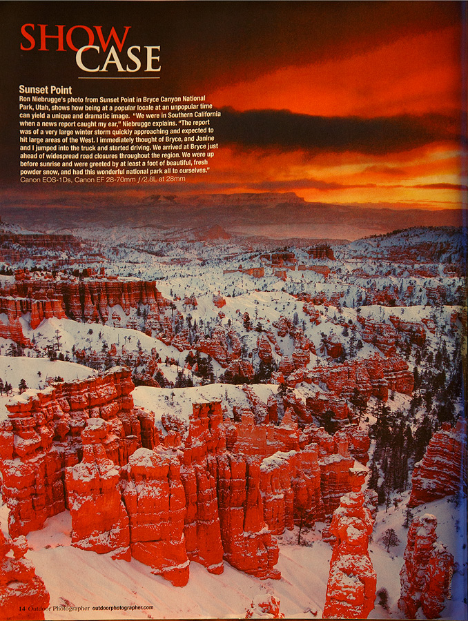 Showcase image of Bryce National Park in the current issue of Outdoor Photographer.