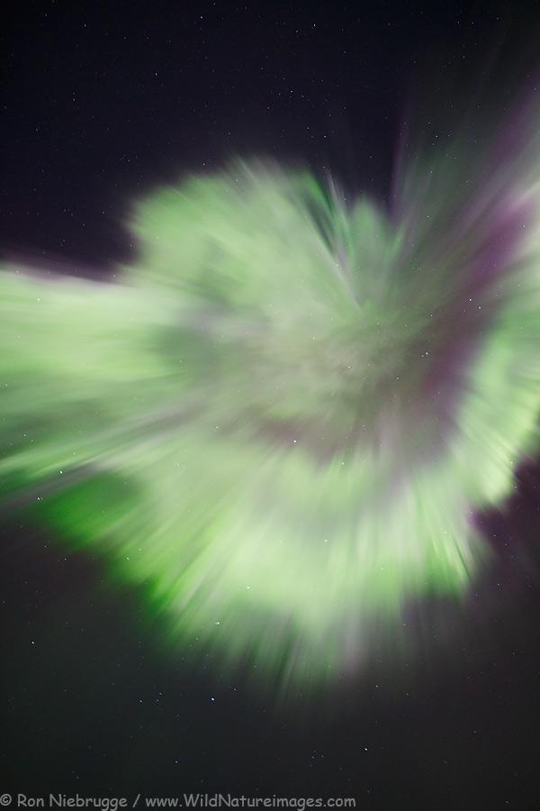 Aurora corona over the Brooks Range, Alaska.