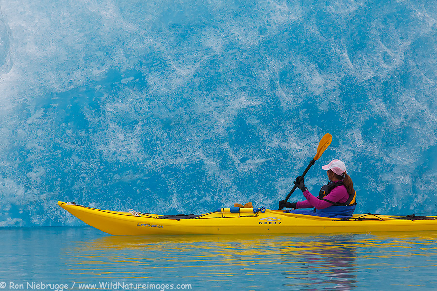 Janine kayaking in Bear Glacier Lagoon, Kenai Fjords National Park, near Seward, Alaska.