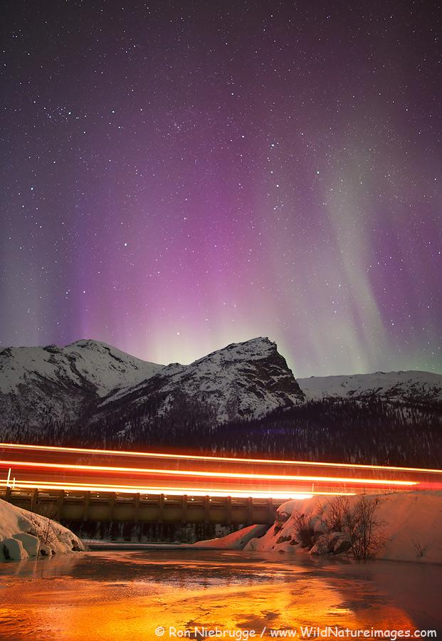 A semi crosses a bridge on the Dalton Highway, Alaska.