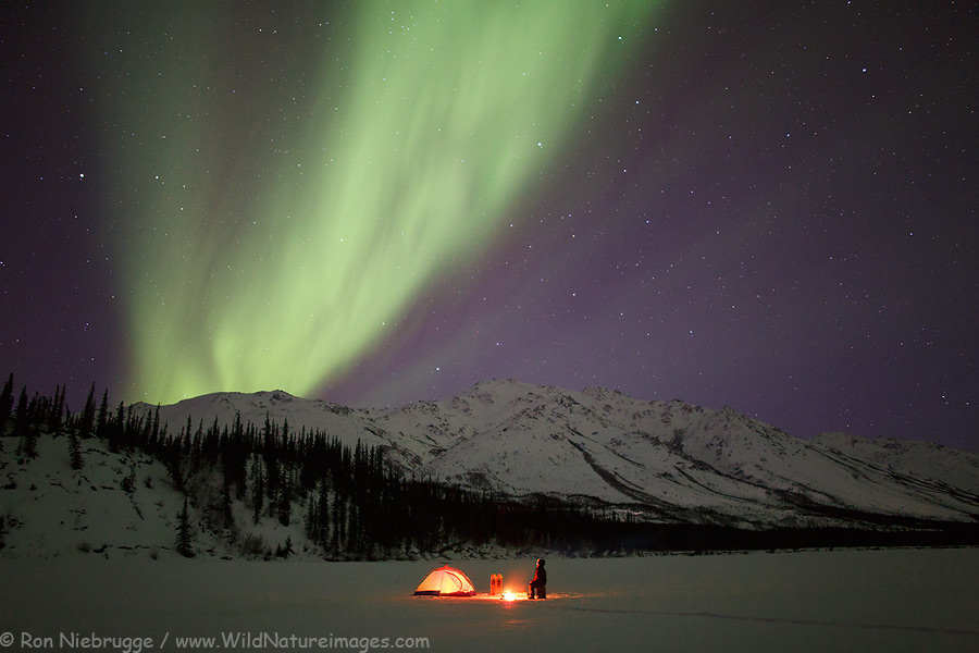Pretending to camp under the aurora borealis in the Brooks Range, Alaska.