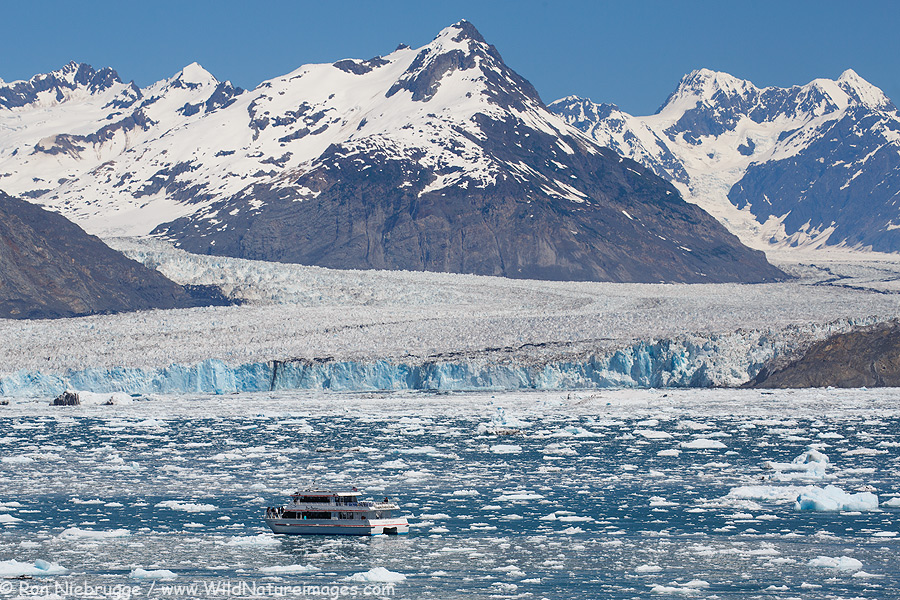 Stan Stephens tour boat in front of the Columbia Glacier, Prince William Sound, Alaska.