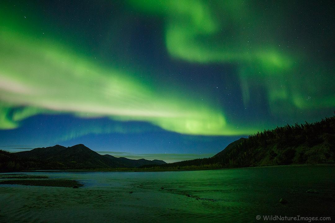 Aurora over the Koyukuk River, Brooks Range, Alaska.