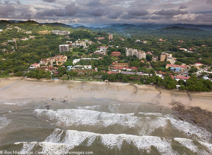 Aerial (drone) of Tamarindo, Costa Rica.