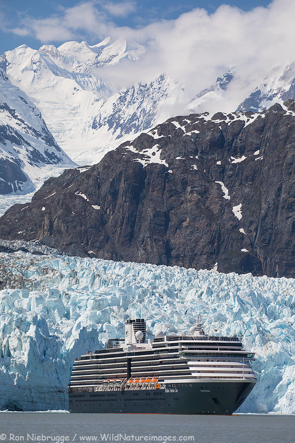 Holland America ship in front of the Margerie Glacier, Glacier Bay National Park, Alaska.