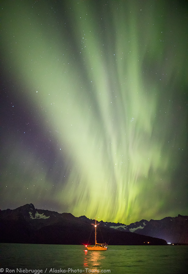 Northern Lights over Resurrection Bay, Seward, Alaska.