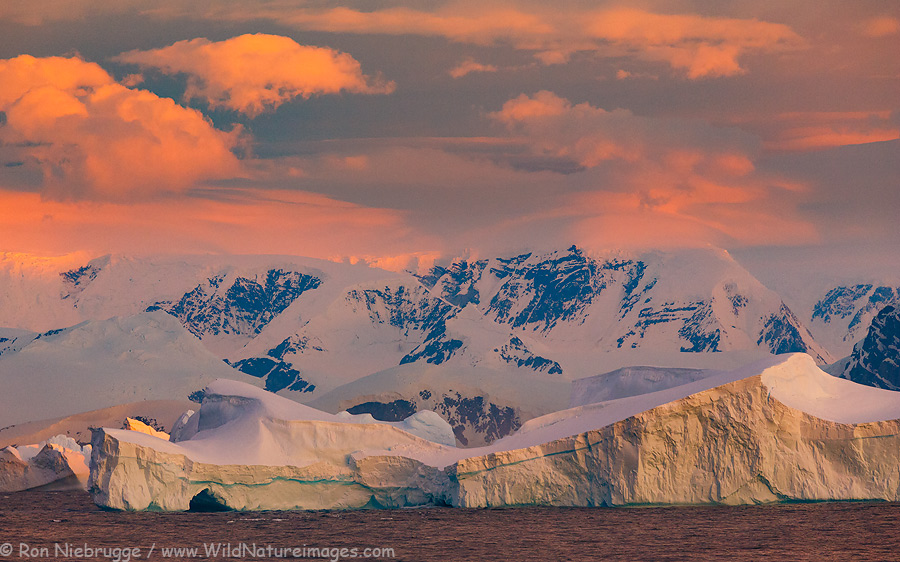 Massive icebergs near the Antarctic Circle, Antarctica.