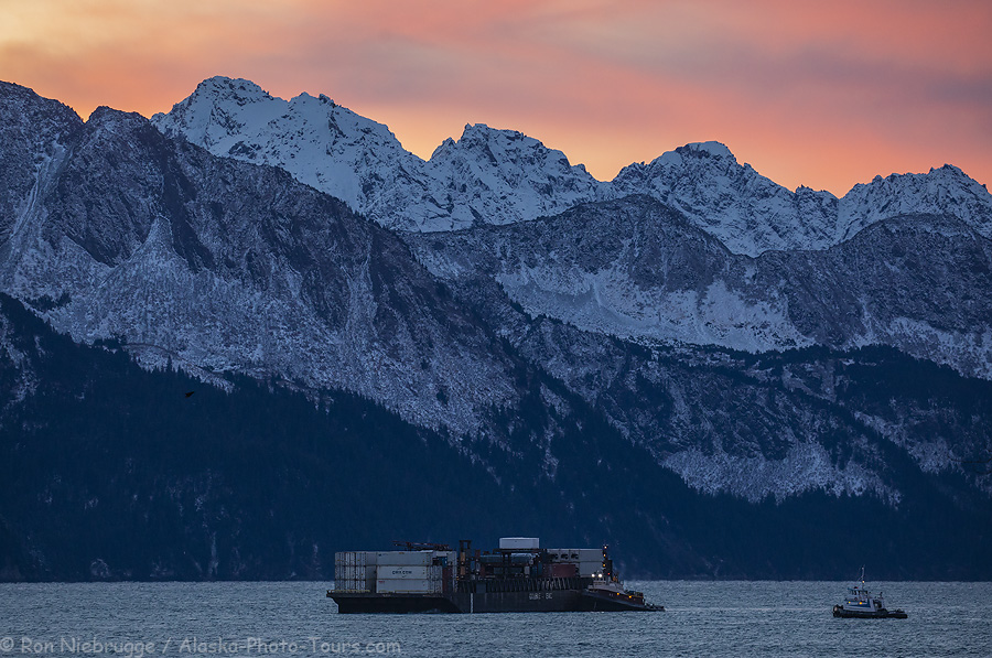 A tug and barge coming up Resurrection Bay a few minutes ago, Seward, Alaska.