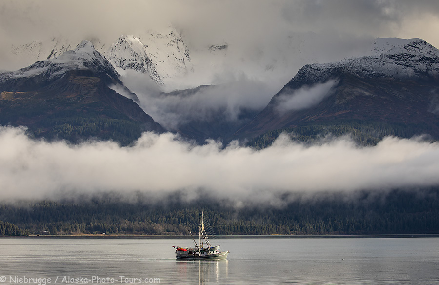 A fishing boat passing by our home office and heading out to sea, Seward, Alaska.