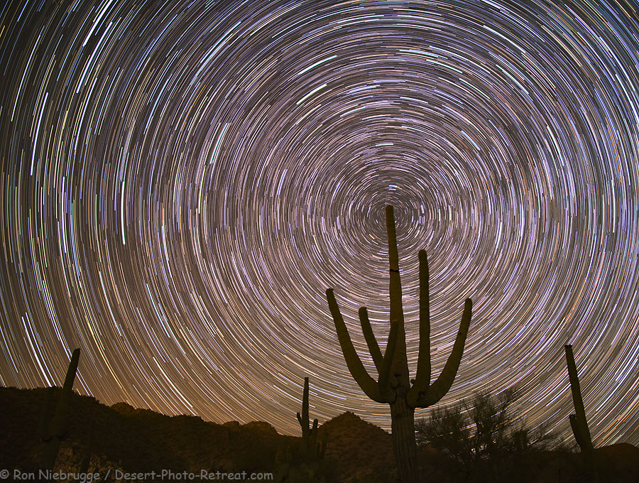 Star trails from the Desert Photo Retreat near Tucson, Arizona.