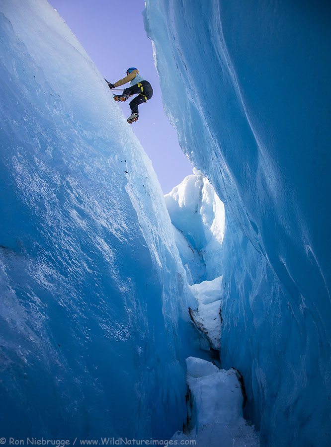 Our friend Gina climbing out of a crevasse.