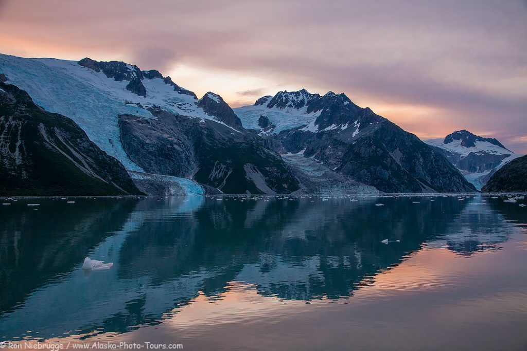 Sunrise at anchor, Northwestern Fjord, Kenai Fjords National Park, Alaska.