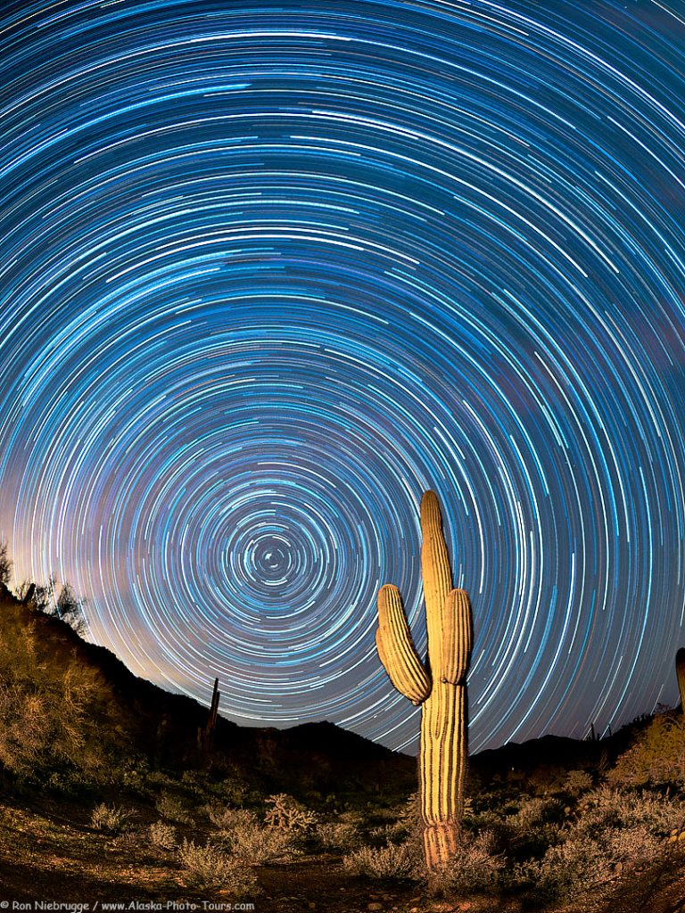 Star trails over the Desert Photo Retreat, near Tucson, Arizona.
